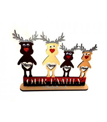 Personalised Christmas Reindeer Family on a Stand
