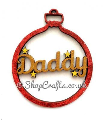 Family Name Christmas Bauble Name with Stars
