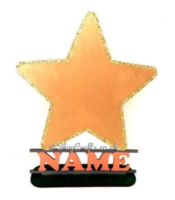 Childrens Personalised Star Shape on a Stand with Name