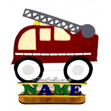 Childrens Personalised Fire Engine Shape on a Stand with Name