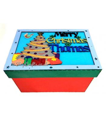 Personalised 'Merry Christmas' Gift Box  - Christmas Tree Design