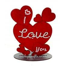 'I Love You' Etched Multi-Hearts joined on a stand.